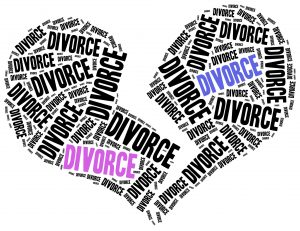 Divorce of marriage breakup. Word cloud illustration.